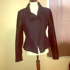 Denim and leather blazer NWT!